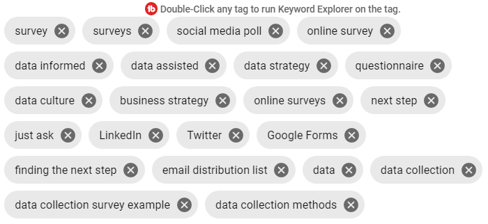 Tags used, including survey, surveys, data strategy, finding the next step, data collection survey example